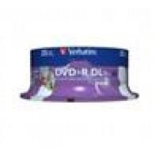 Verbatim DVD+R DL 8.5GB 25Pk White Wide Inkjet 8x