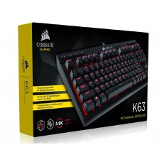 Corsair Gaming™ K63 Compact Mechanical Keyboard, Cherry MX Red, Backlit Red LED (LS)