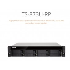 QNAP TS-873U-RP-16G. 8 Bay NAS (No Disk),16G,AMD QC-2.1GHz,10GbE SFP+,M.2(2),2U, Redundant PSU, 2 Years Warranty